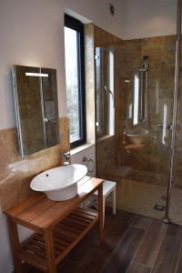 New Bathroom, walk in shower, marble tiles and oak floor underfloor heating
