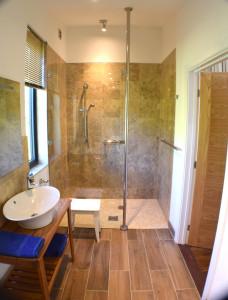 New Bathroom, walk in shower, marble tiles and oak floor underfloor heating