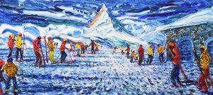 Zermatt Matterhorn Skiing Painting