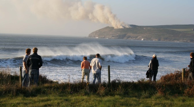 Croyde beach, big waves and burning bracken