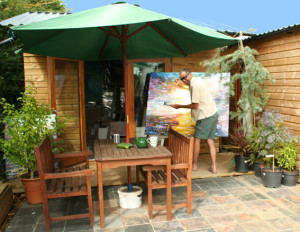 Out the back at the art studio with one of Pete's huge paintings