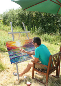 Painting outside the studio in summer