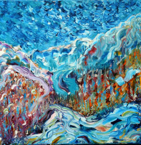 Courmayeur and Chamonix skiing painting in the French Alps looking up to Mt Blanc
