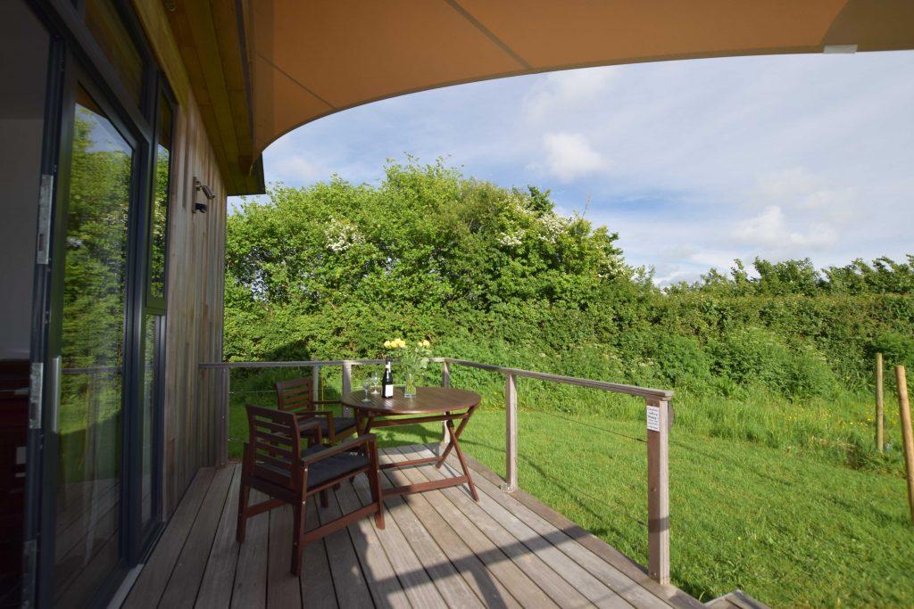 Lodge 1 Decking and shade sail