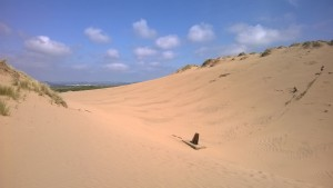 Big Dune and the gun placement still there from WW2. Feels like you are in the Sahara Desert sometimes