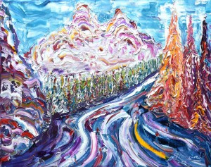 Meribel Courchevel skiing snowboarding painting for sale