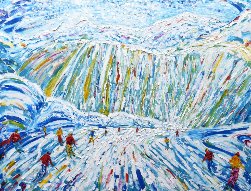 Courmayeur skiing painting for sale