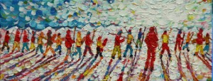 Tignes Val D'Isere skiing snowboarding painting for sale