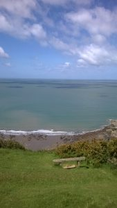 Combe Martin Hangmans Walk. Looking over Wild Pear Beach and The Bristol Chanel